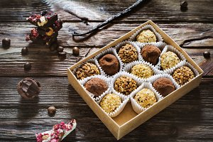 Sweet gift, chocolate truffles