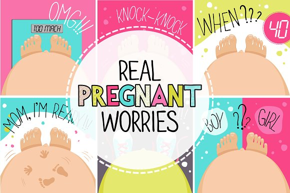 Pregnant worries. Set of 6 vectors. - Illustrations