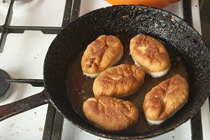 Pies on a frying pan