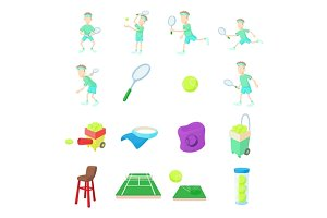 Tennis icons set, cartoon style