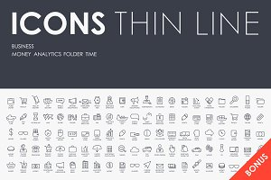 Business thinline icons + BONUS