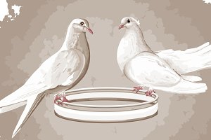 2 DOVES ON A RING IN VECTOR