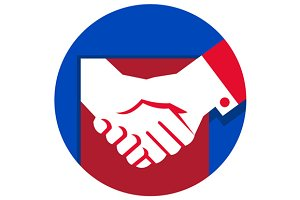 Business Deal Handshake Circle Retro