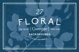 FLORAL Cyanotype backgrounds