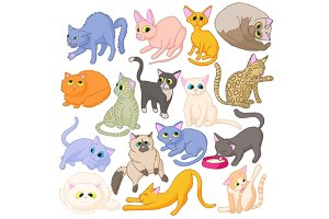 Cat icons set, cartoon style