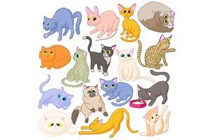 Cat icons set, cartoon style