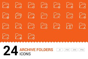 Archive Folders - Vector Line Icons
