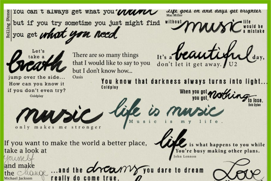 Life Is Music Quotes Custom Designed Illustrations Creative Market