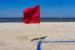 Red. Baltic beach