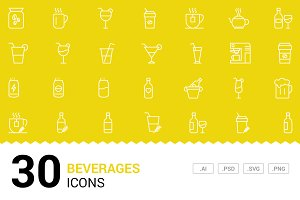Beverages - Vector Line Icons