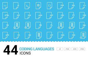 Coding Languages - Vector Line Icons