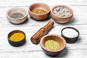 Spices in wooden bowl