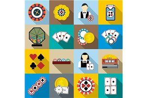 Casino icons set, flat syle