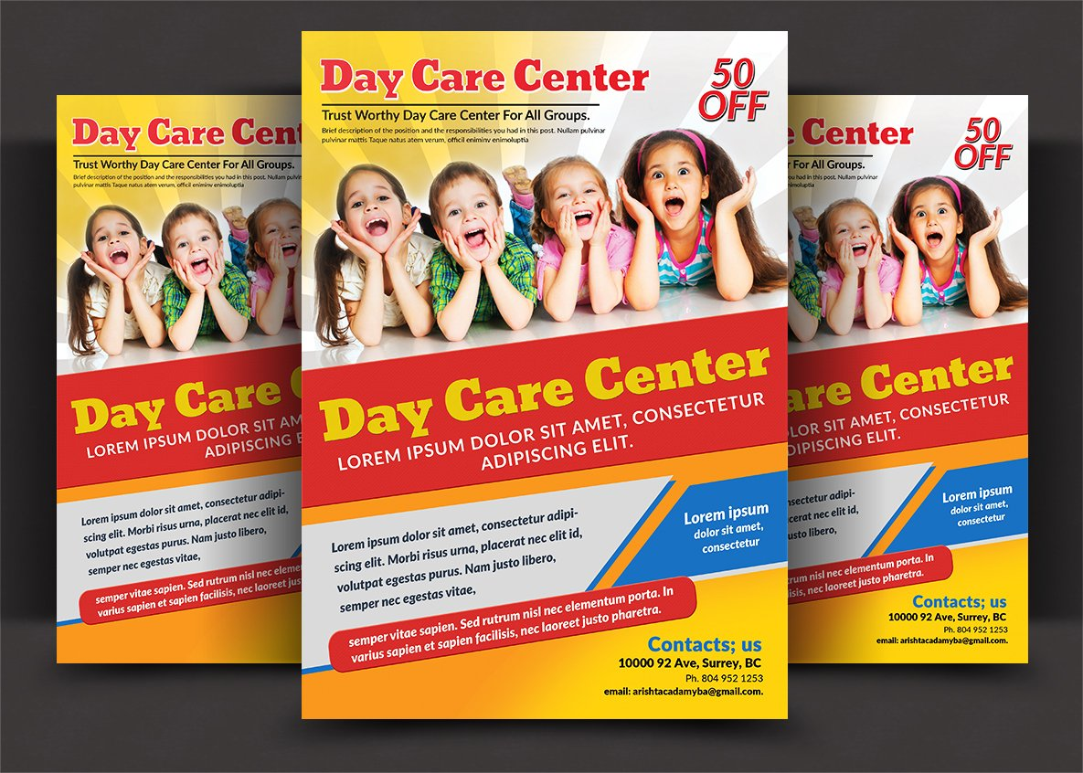 daycare flyer templates flyer templates on creative market