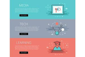 Media. Tech. Learning banners set