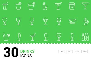 Drinks - Vector Line Icons