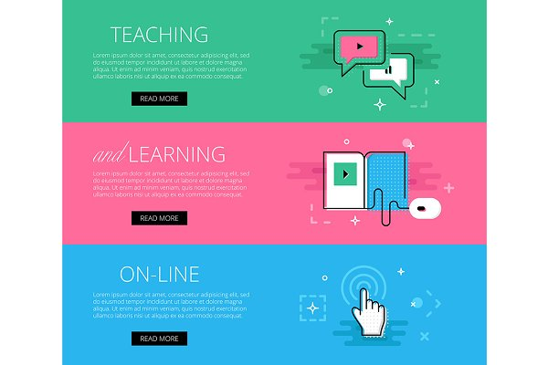 Teaching And Learning Banner Set Pre Designed Illustrator Graphics Creative Market