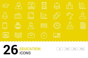 Education - Vector Line Icons