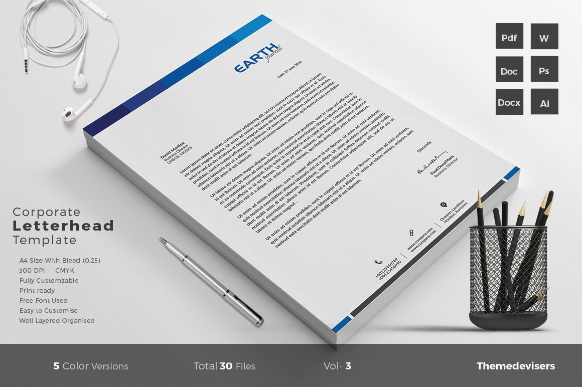 Letterhead stationery templates creative market pronofoot35fo Image collections