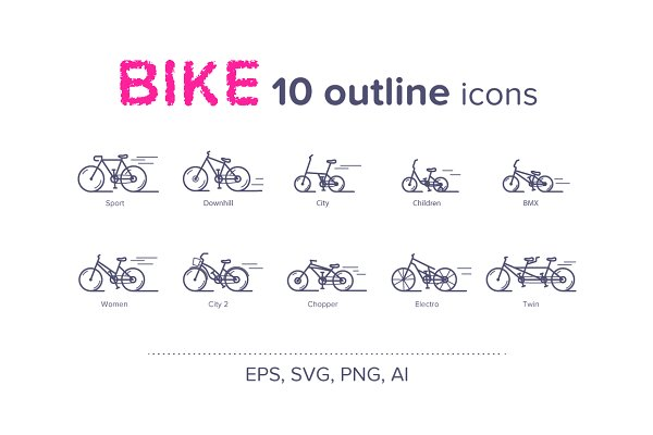 BIKE (10 Outline Icons)