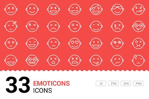 Emoticons - Vector Line Icons