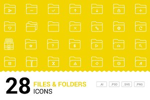 Files & Folders - Vector Line Icons