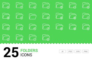 Folders - Vector Line Icons
