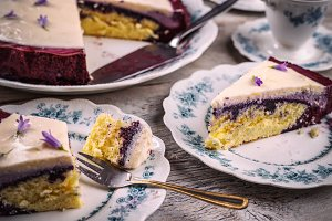 Slice of blueberry cake