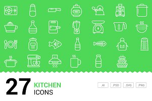Kitchen - Vector Line Icons