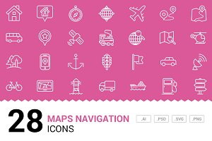 Maps Navigation - Vector Line Icons