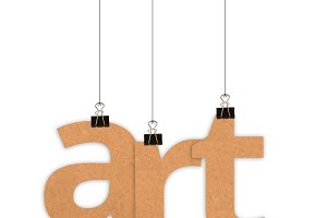 Art word hanging with strings