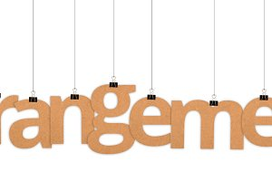 Arrangement word hanging with string