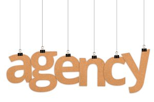 Agency word hanging with strings