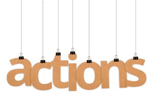 Actions word hanging with strings