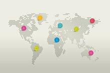 Stylized world map. Dot design