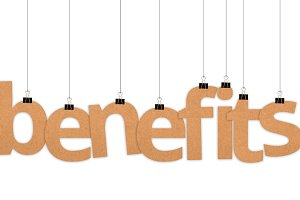 Benefits word hanging with strings