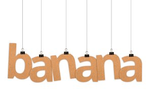Banana word hanging with strings