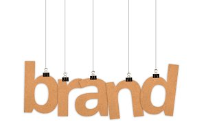 Brand word hanging with strings