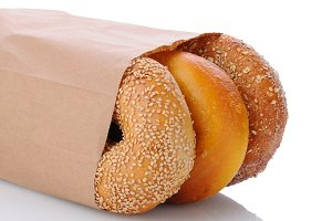 Closeup of Bagels in a Bag