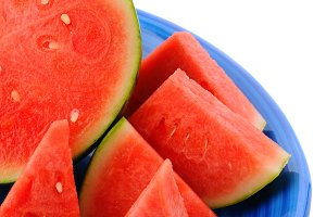 Cut Watermelon on Blue Plate