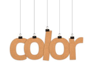 Color word hanging with strings