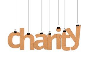Charity word hanging with strings