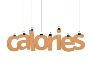 Calories word hanging with strings