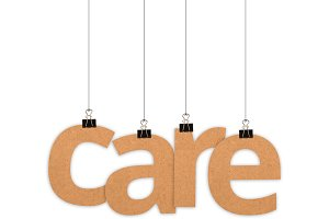 Care word hanging with strings