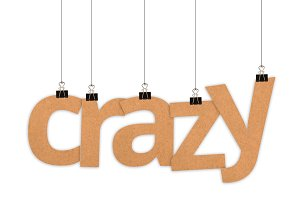 Crazy word hanging with strings