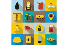 Oil icons set, flat style