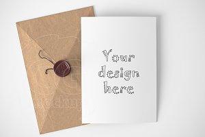Braun kraft envelope/card mockup
