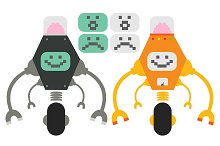 Cute robots with monitors. Vector
