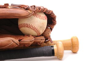 Baseball Glove ball and two bats