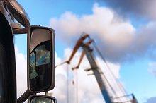 Port. Truck and cranes